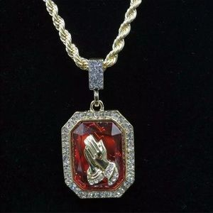 14Kt Gold Plated Praying Hans Ruby Pendant & Rope
